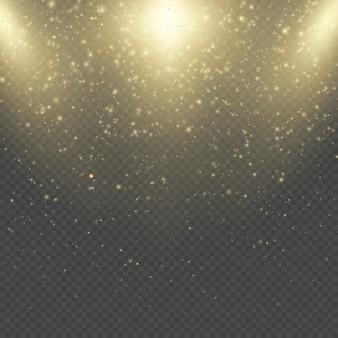 Weihnachten oder neujahr glitzert funkelnder regen. abstrakter goldglitterraumnebelglanzeffekt. goldene staubauflage. funkelnde konfetti, schimmernde punktlichter.