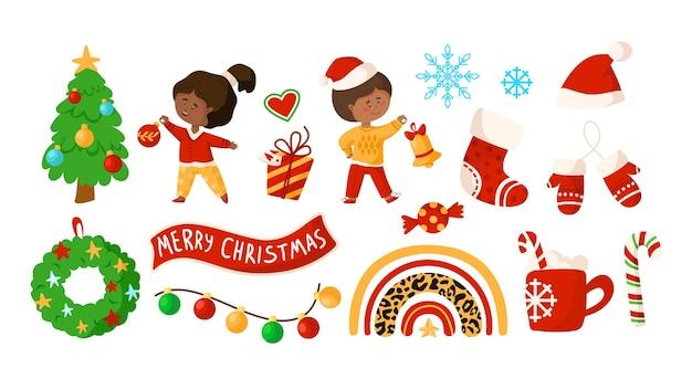 Weihnachten oder neujahr kinder clipart Premium Vektoren