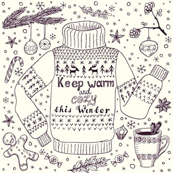 Weihnachten oder winter grußkarte mit gemütlichen pullover