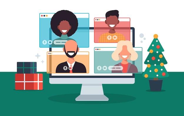 Weihnachten online-begrüßung menschen treffen sich online