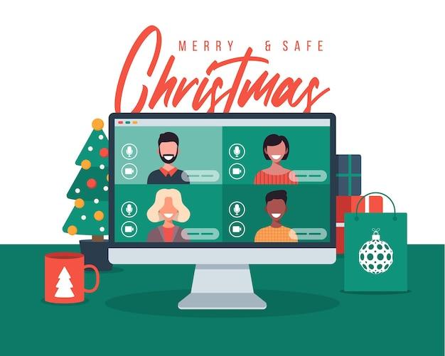Weihnachten online gruß leute treffen sich online zusammen