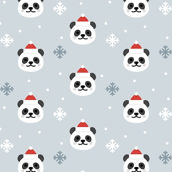 Weihnachten panda seamless pattern background