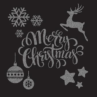 Weihnachten punktiert elemente, grußkarte