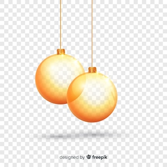 Weihnachten realistische goldene kugeln