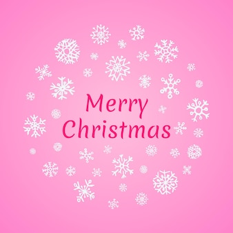 Weihnachten rundes banner mit weißen schneeflocken auf rosa hintergrund und aufschrift frohe weihnachten. vektor-illustration