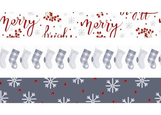 Weihnachten rustikale graue socken und rote beschriftung nahtlose grenzen aquarell vorlage