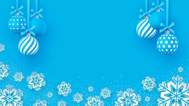 Weihnachten sanft blaue kugeln mit geometrischen mustern und schneeflocken. abstrakter weihnachtshintergrund in den pastellfarben. ein platz für ihren text. vektor