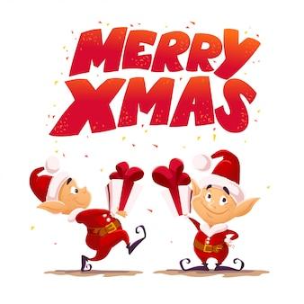 Weihnachten santa claus elf charakter porträt. karikaturartillustration. frohes neues jahr, frohe weihnachten element. gut für glückwunschkarte, flayer, poster.