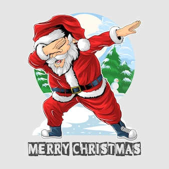 Weihnachten santa claus tupftanz Premium Vektoren