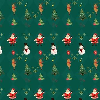 Weihnachten santa hand gezeichnetes muster grün
