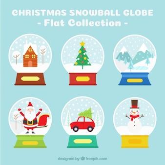 Weihnachten schneekugel sammlung in flaches design