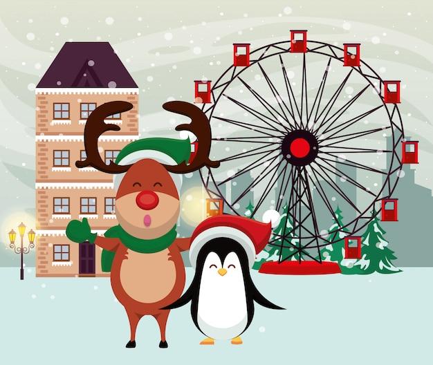 Weihnachten schneelandschaft szene mit rentier und pinguin