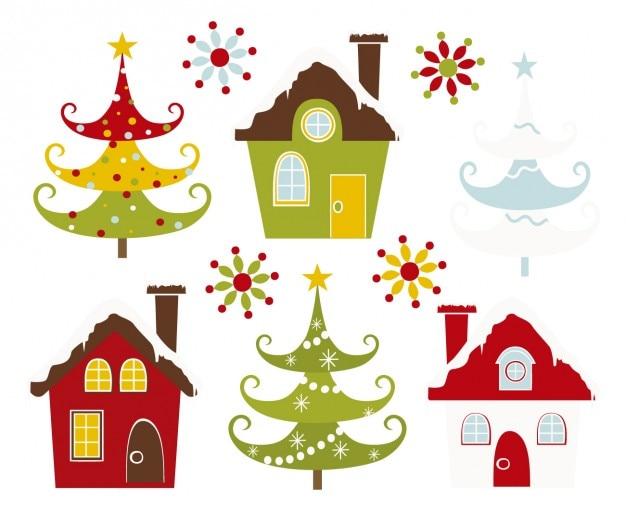 Weihnachten schneit häuser und bäume