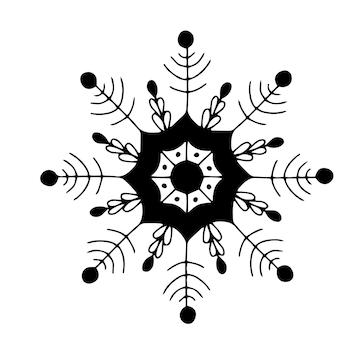 Weihnachten schöne handgezeichnete fantasy-schneeflocke. clipart-vektorelement