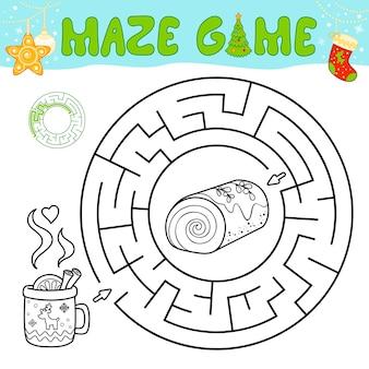 Weihnachten schwarz-weiß-labyrinth-puzzle-spiel für kinder. umreißen sie kreislabyrinth oder labyrinthspiel mit weihnachtskuchen.