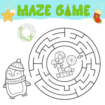 Weihnachten schwarz-weiß-labyrinth-puzzle-spiel für kinder. umreißen sie kreislabyrinth oder labyrinthspiel mit weihnachtspinguin.