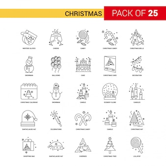Weihnachten schwarze linie symbol - 25 business outline icon set