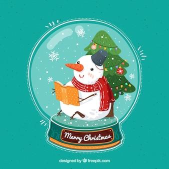 Weihnachten snowglobe schneemann im vintage-stil