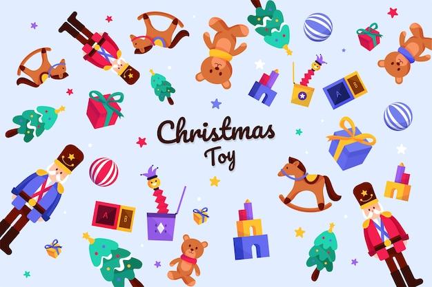 Weihnachten spielt hintergrund im flachen design