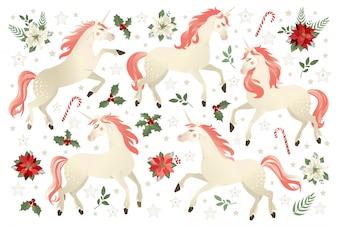 Weihnachten stellte mit Einhornvektorillustration auf Poinsettia-Blumenhintergrund ein.