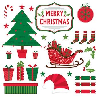 Weihnachten stellte mit weihnachtsbaum, geschenk, pferdeschlitten, stern ein