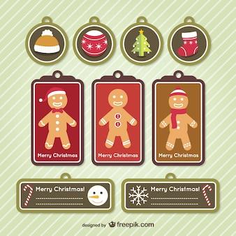 Weihnachten-tags mit lebkuchenplätzchen