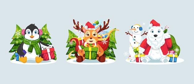 Weihnachten tier illustration set