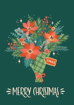 Weihnachten und ein frohes neues jahr illustration des weihnachtsstraußes. trendiger retro-stil.