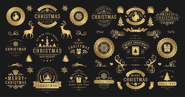 Weihnachten und ein frohes neues jahr wünschen etiketten und abzeichen setzen illustration.