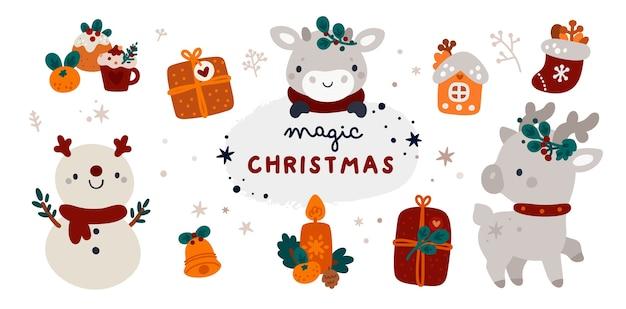 Weihnachten und ein gutes neues jahr! weihnachtskollektion mit hirsch, schneemann, stier und gemütlichen winteraccessoires