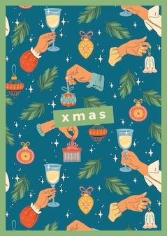 Weihnachten und frohes neues jahr illustration mit männlichen und weiblichen händen. trendiger retro-stil.