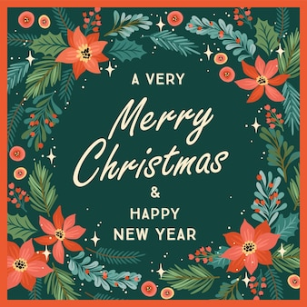 Weihnachten und frohes neues jahr illustration mit weihnachtsbaum und blumen. trendiger retro-stil.