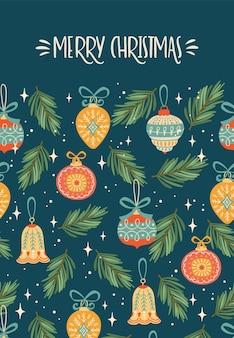 Weihnachten und frohes neues jahr illustration mit weihnachtsdekorationen. trendiger retro-stil.