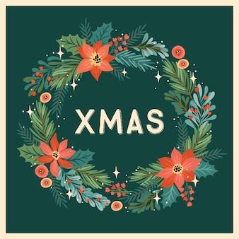 Weihnachten und frohes neues jahr illustration mit weihnachtskranz. trendiger retro-stil. Premium Vektoren