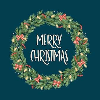 Weihnachten und frohes neues jahr illustration mit weihnachtskranz.