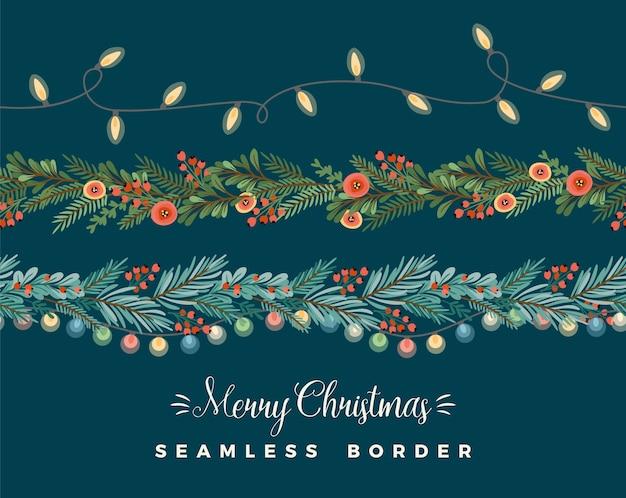 Weihnachten und frohes neues jahr nahtlose grenzen. Premium Vektoren