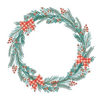 Weihnachten und guten rutsch ins neue jahr-illustration mit weihnachtskranz.