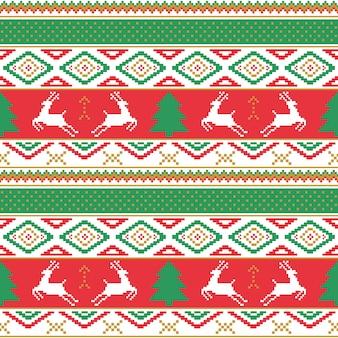 Weihnachten und guten rutsch ins neue jahr-muster. nahtloses traditionelles dekoratives gestricktes muster.