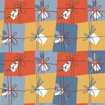 Weihnachten und guten rutsch ins neue jahr nahtlose muster mit dekorierten geschenkboxen kreativen hintergrund für wand...