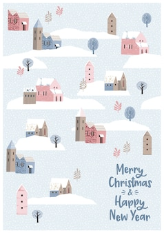 Weihnachten und Happy New Year Illustration.