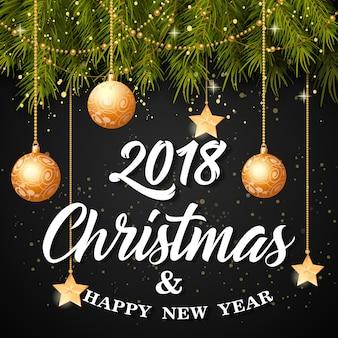 Weihnachten und happy new year schriftzug