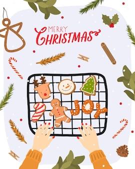 Weihnachten und neue 2020-jährige grußkarte mit plätzchen