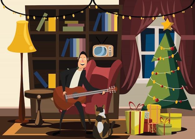 Weihnachten und neue jahre in der wohnzimmervektorillustration
