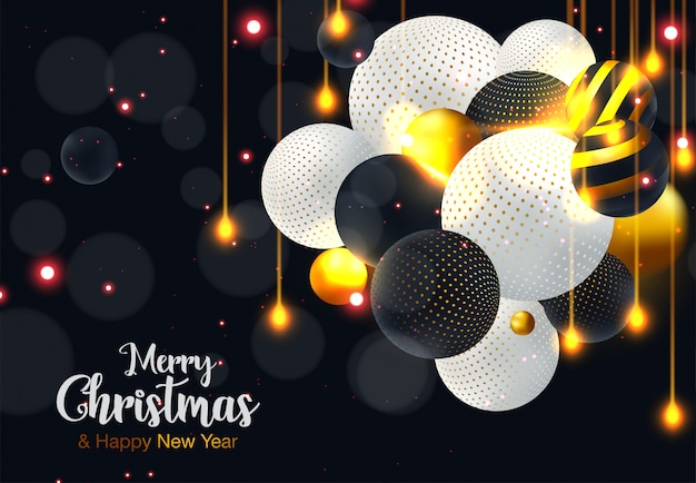 Weihnachten und neues jahr typografisch auf glänzendem weihnachtshintergrund