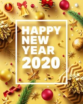 Weihnachten und neujahr 2020 golden