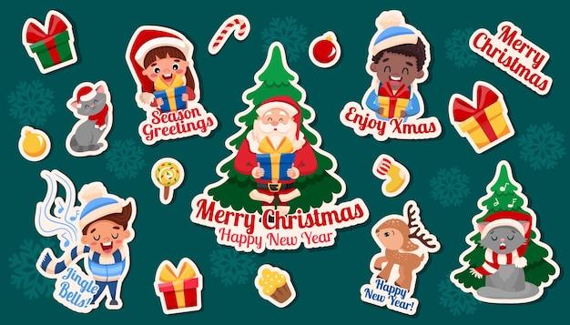 Weihnachten und neujahr aufkleber set. weinleseelemente und zeichentrickfiguren isoliert