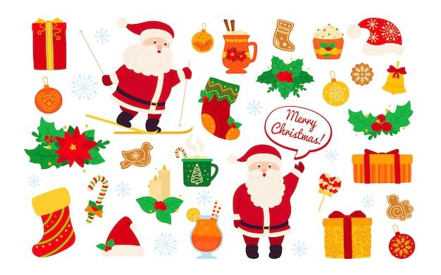 Weihnachten und neujahr eingestellt. holly, cupcake, glocke, tasse, hut, santa skifahren und kekse geschenk. flache cartoon-gestaltungselemente. neujahrs- und weihnachtsobjektsammlung. isolierte illustration