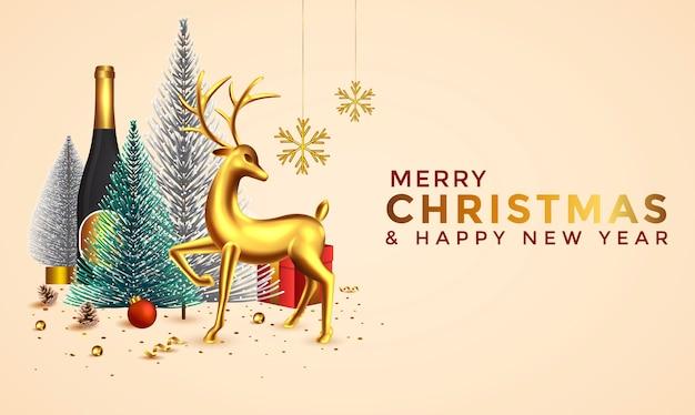 Weihnachten und neujahr hintergrund. abstrakte weihnachtskomposition mit weihnachtsbäumen, hirsch- und feiertagselementen. helle winterferienkomposition. grußkarte, banner, plakat. illustration