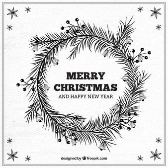 Weihnachten und neujahr hintergrund mit hand gezeichneten blätter