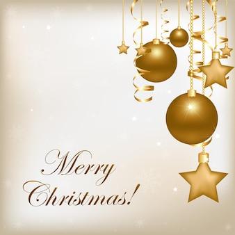 Weihnachten und neujahr illustration mit neujahrskugeln und streamer